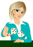 Woman throwing the dice gambling playing craps Royalty Free Stock Images