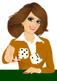 Woman throwing the dice gambling playing craps. Portrait of attractive young brunette woman throwing the dice gambling playing craps on green table Stock Image
