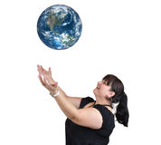 Woman throwing Earth stock photos