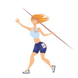 Woman throwing the javelin. Vector illustration, isolated on white. Stock Images
