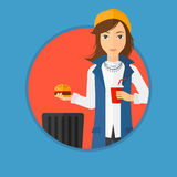 Woman throwing junk food. Royalty Free Stock Photography