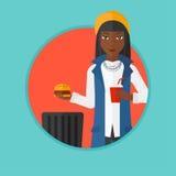 Woman throwing junk food vector illustration. Royalty Free Stock Photos