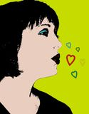 Woman Throwing Kisses. Picture of woman throwing kisses, background is yellow-green, five hearts different sizes and color, woman has black hair and is puckering Stock Photography