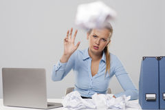 Woman throwing paper Royalty Free Stock Photo