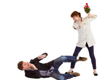 Woman throwing roses at man Stock Photography