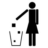Woman throwing trash ecology. Woman who throws trash in the trash ecology symbol recycling Royalty Free Stock Photos