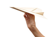 Woman throwing white paper plane Royalty Free Stock Image