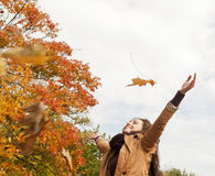 Woman throws with leaves Stock Photos