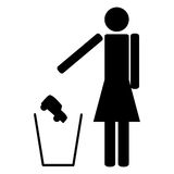 Woman throws in the trash car Royalty Free Stock Photography