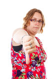 Woman with thumb down Stock Images