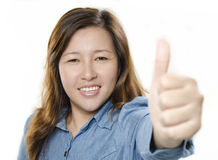 Woman thumb up Stock Images