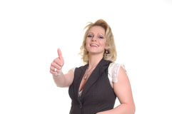 Woman with thumb up Stock Images