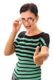 Woman thumb up exclamation Royalty Free Stock Photos
