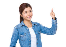 Woman with thumb up Royalty Free Stock Photography