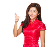 Woman with thumb up Royalty Free Stock Images
