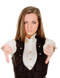 Woman thumbs down Stock Photo