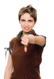 Woman thumbs down Royalty Free Stock Image