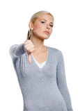 Woman thumbs down Stock Photography