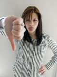 Woman with thumbs down sign Stock Photos