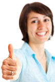 Woman thumbs up Stock Images