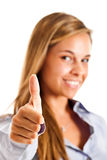 Woman thumbs up Stock Photos