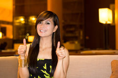 Woman with thumbs up. Happy Woman with thumbs up Royalty Free Stock Photo