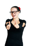 Woman with thumbs up Royalty Free Stock Photos