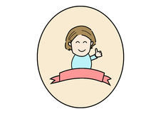 Woman thumbs up logo with white background Stock Image