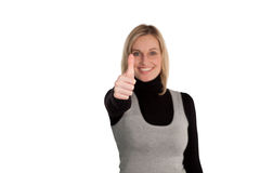 Woman thumbs up to camera Stock Images