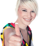 Woman with thump up Stock Image