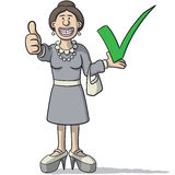 Woman with a tick. Vector illustration of woman with a tick and thumb up Royalty Free Stock Photo