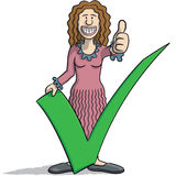 Woman with a tick. Vector illustration of woman with a tick and thumb up Royalty Free Stock Images