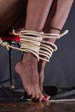 Woman with tied legs. Stock Photo