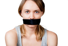 Woman with tied mouth Stock Photo