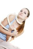 Woman tied up with rope Stock Photos