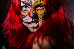 Woman with tiger face Royalty Free Stock Image