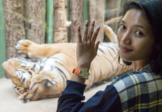 Woman with a tiger Royalty Free Stock Photography