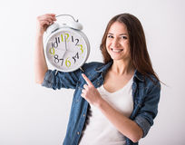 Woman. Time. Stock Image