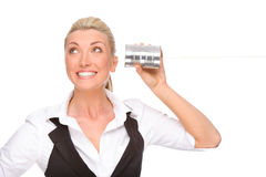 Woman with tin phone Stock Photography