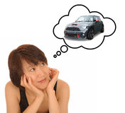 Woman tinking of car Stock Image
