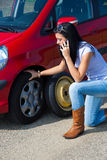Woman with a tire Royalty Free Stock Images