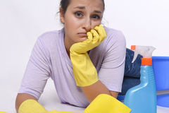 Woman tired of cleaning Stock Photography