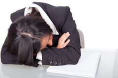 Woman tired falls asleep Royalty Free Stock Images