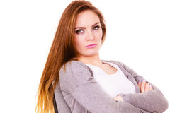 Free Woman Tired Serious Offended Face Expression Royalty Free Stock Images - 89785549