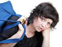 Woman tired and shoulder bag isolated Royalty Free Stock Images