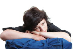 Woman tired and shoulder bag isolated Royalty Free Stock Image