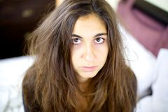 Woman tired and sic with bad hair day Royalty Free Stock Photo