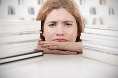 Woman Tired of Studying Royalty Free Stock Images