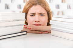 Woman Tired of Studying Royalty Free Stock Photography
