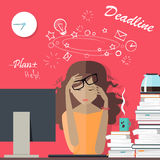 Woman Tired at Work. Deadline. A Lot of Work to Do. Stock Images
